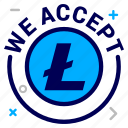 accept, crypto, currency, lite, litecoin, money, we icon