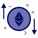 crypto, currency, ethereum, ethereumcoin, money, progress, rate icon