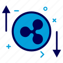 crypto, currency, money, progress, rate, ripple, ripplecoin icon