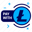 crypto, currency, lite, litecoin, money, pay, with icon