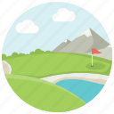 flag, golf, golf field, grass, lake, mountains, sport icon