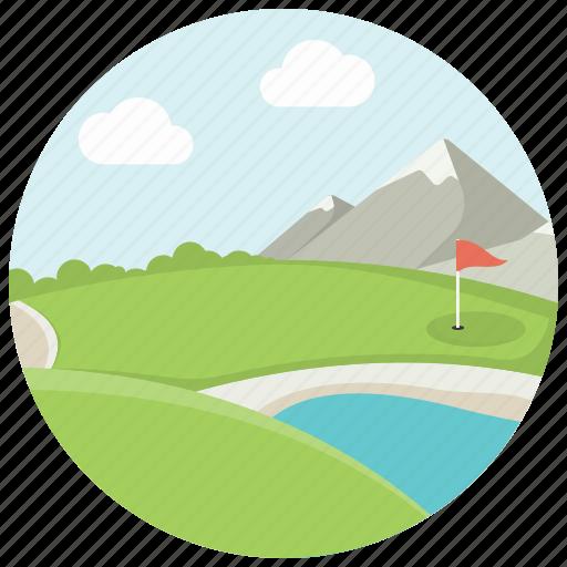 flag, golf, golf field, grass, lake, mountains, sport icon