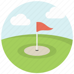 clouds, flagstick, game, golf, golf course, hill, sport icon