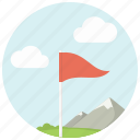 clouds, flagstick, golf, golf course, mountains, sport icon