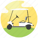 clouds, golf, golf car, golf cart, golf course, sport icon