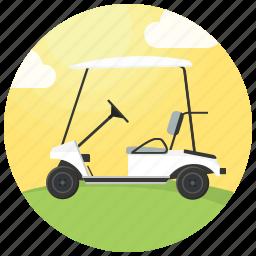 clouds, golf, golf car, golf cart, golf course, sport icon
