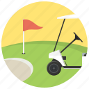 flag, golf, golf cart, golf field, sport icon