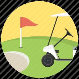 flag, golf, golf cart, golf field, sport icon
