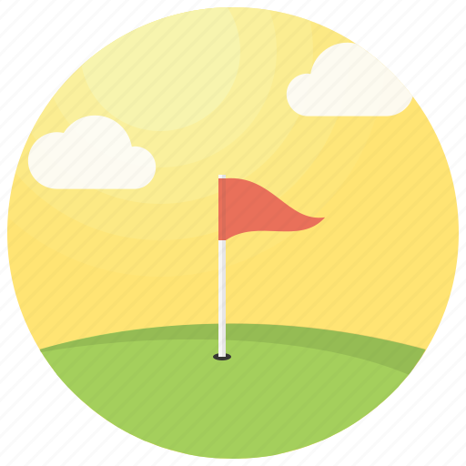 clouds, flagstick, golf, golf course, hole, sun icon