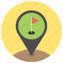 flag, flagstick, golf, golf club, location, navigation, pin icon