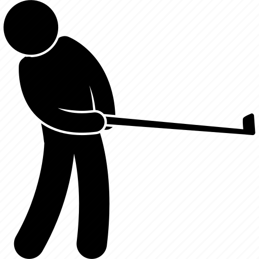 ball, golf, hit, man, posture, sport, swing icon