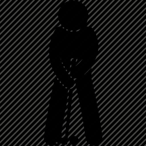 aim, golf, man, pose, position, ready, sport icon