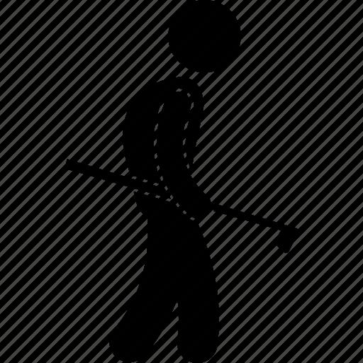 club, golf, golfer, holding, man, sport, walking icon