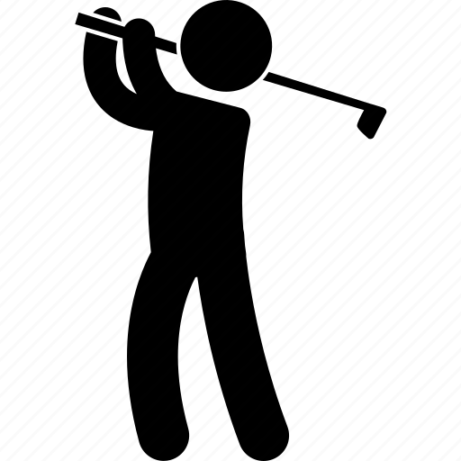 golf, hit, man, posture, sport, strike, swing icon