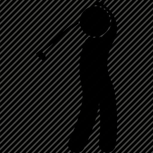 golf, hit, man, posture, sport, strike, swing icon