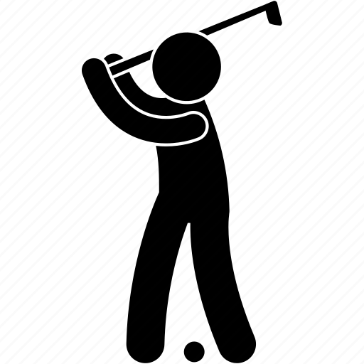 ball, golf, hit, man, posture, sport, swing icon