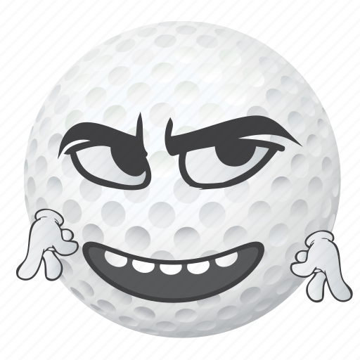 ball, cartoon, emoji, face, golf, smiley icon