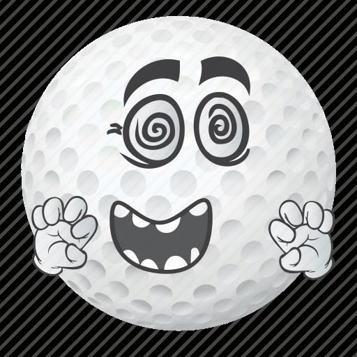 ball, cartoon, emoji, face, golf, smiley icon