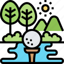 activity, golf, field, recreation, sports icon