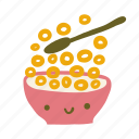 food, breakfast, bowl, cute, cereal icon