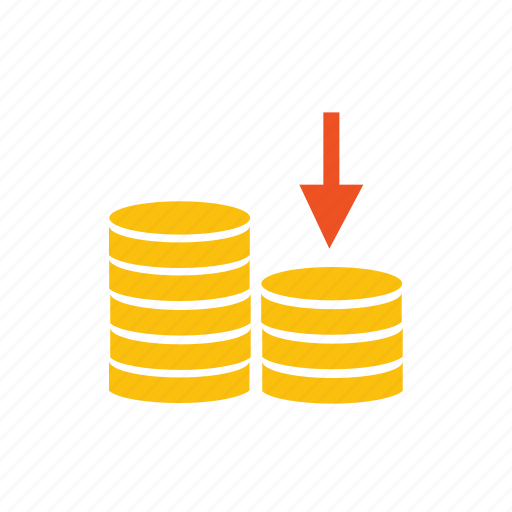 costs, down, expenses, falling, fee, income, loss, money, profit, reduce, sales, tax icon