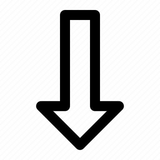 arrow, bold, bottom, directions, down, interface icon