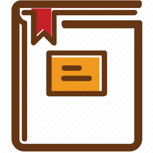 book, brown, graduated, red, ribbon, university, yellow icon