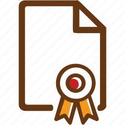 brown, certificate, diplome, graduated, red, yellow icon