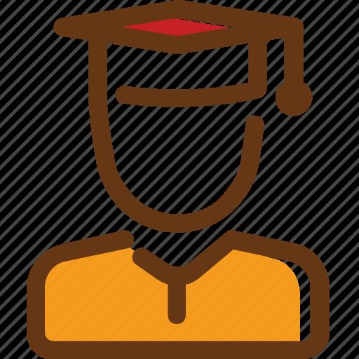 boy, brown, graduate, graduated, man, red, yellow icon