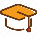 brown, cap, hat, red, student, university, yellow icon