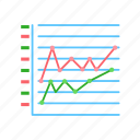 stacked, graph, marketed, line icon