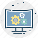 cog, cogwheel, gear, gear wheel, lcd with cog, screen settings icon
