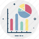 circular chart, diagram, pie chart, pie graph, pie graph with bar chart icon