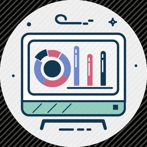 analytics, diagram, infographics, monitor, online graph icon