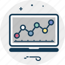analytics, diagram, infographics, monitor, online graph icon