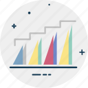 ascending chart, bar graph, business graph, progress chart, timeline graph icon