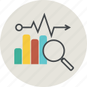 analytics, business, chart, computer, data, diagram, graph, information, loupe, sales, statistics icon