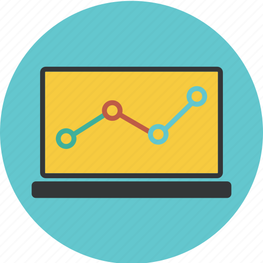 analytics, chart, circle, computer, diagram, graph, laptop, sales, statistic, statistics icon