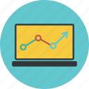 analytics, arrow, chart, circle, computer, diagram, graph, laptop, sales, statistic, statistics icon