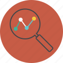 analytics, business, chart, circle, diagram, find, graph, loupe, monitoring, report, search, seo icon