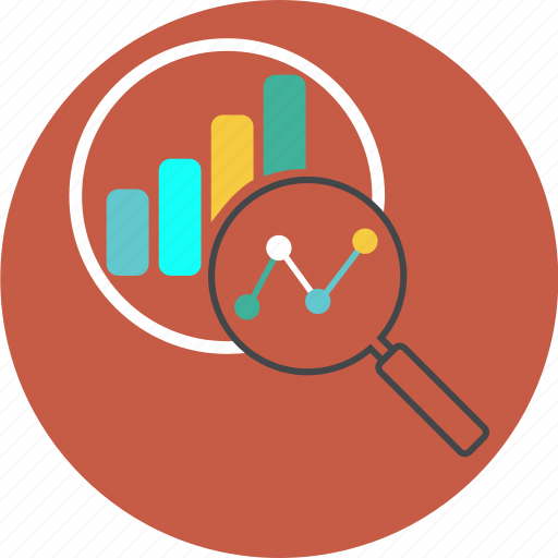 analytics, business, chart, diagram, find, glass, globe, graph, loupe, monitoring, report, search, seo icon
