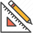 measure, measurement, pencil, ruler icon
