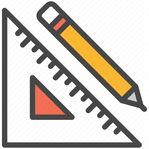 measure, measurement, pencil, ruler icon