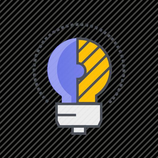 abstract, bulb, creative, idea, solution icon