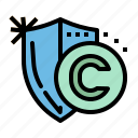 copyright, copywriting, license, protection, shield icon