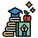 apple, book, graduate, knowledge, text icon