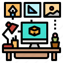 computer, desk, office, station, work icon