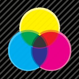 cmyk, colour, mix, wheel icon