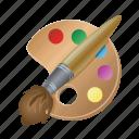brush, pallet, color, paint, tool