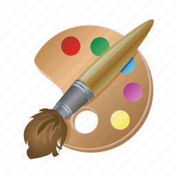 brush, color, paint, pallet, tool icon